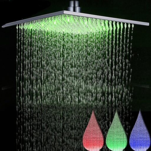Rain Shower Heads - Multi-color LED Light Rainfall Bathroom Square Shape Shower Head