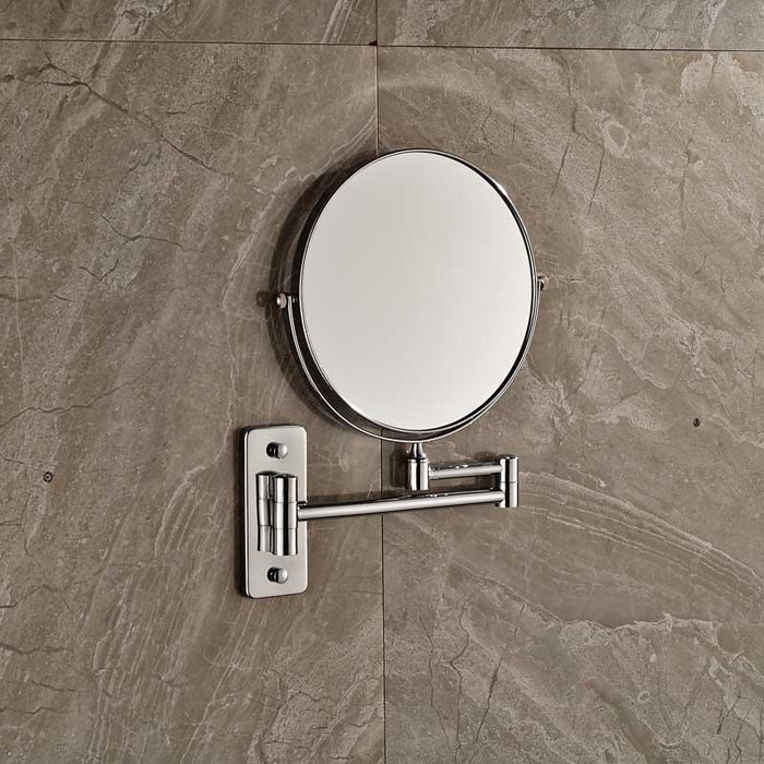 Shower Accessories - Bathroom Wall Mounted Extended Folding Arm 2-Face Magnifying Makeup Mirror