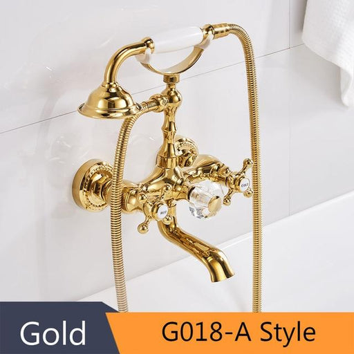 Shower Faucet - Luxury Gold Brass Bathtub Faucets