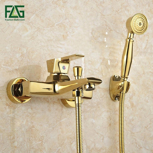Shower Faucet - Wall Mounted Gold Plated Bathtub Faucet