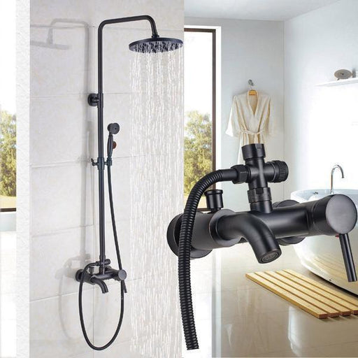 Wall Mounted Rainfall Shower Set Faucet With Hand Shower