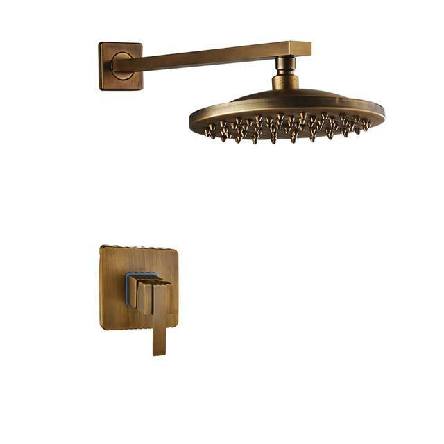 Shower System - Antique Brass Rain Style Square Shower Head