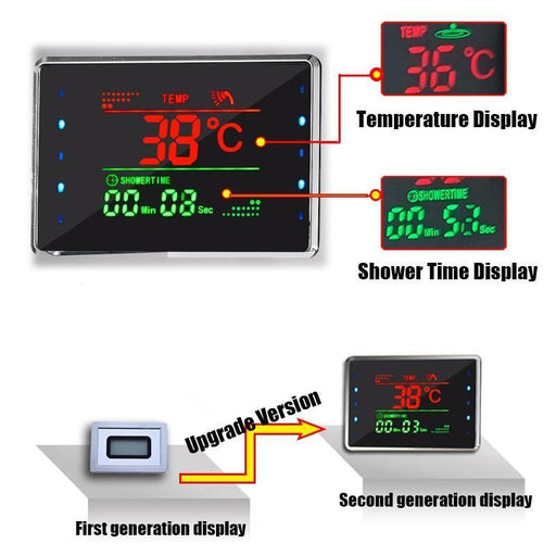 Shower System - LED Bath Shower Faucet Temperature Digital Display Shower System