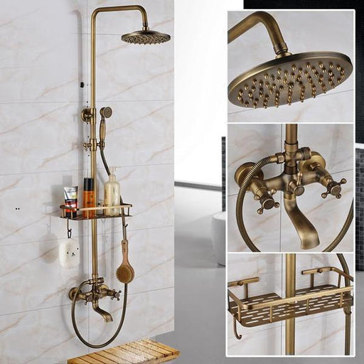 Shower System - Wall Mounted Antique Brass Dual Handle Faucet With Commodity Shelf Shower Set