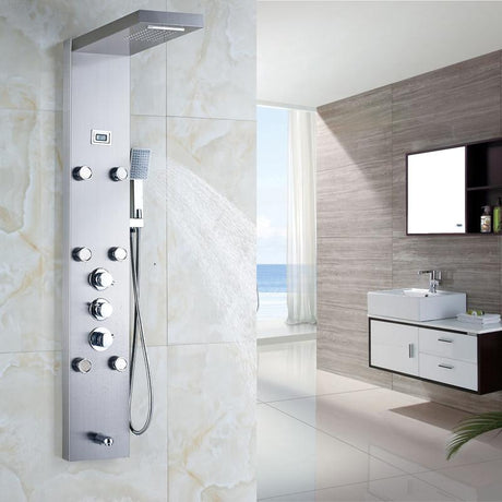 Shower System - Waterfall With 6 Pieces Massage Jets Rain Shower Panel