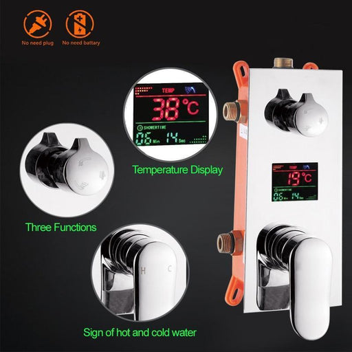 Temperature Control - Digital Temperature Display Wall Mounted Brass Shower Control Mixer Valve