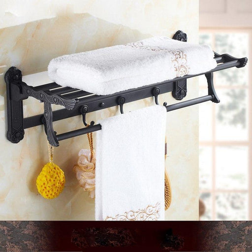 Towel Bars & Hooks - Folding Bath Towel Holder With Hooks
