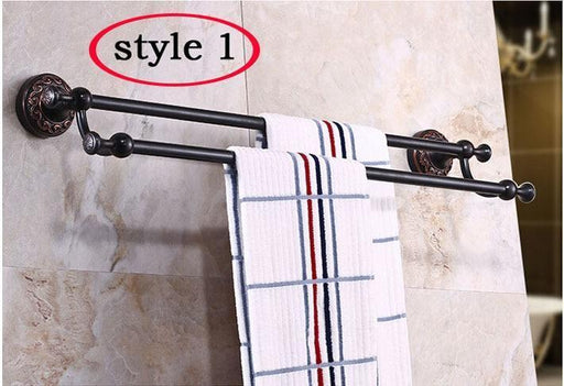 Towel Bars & Hooks - Wall Mounted Double Towel Bar Bathroom Accessories