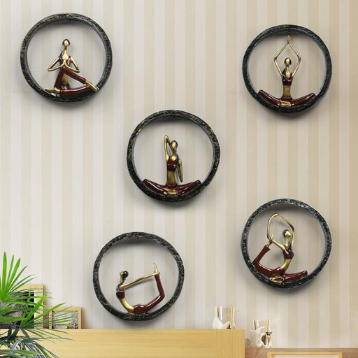 Wall Sculptures - Modern Abstract Yoga Pose Statue Wall Hanging Sculptures