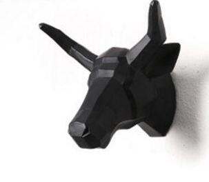 Wall Sculptures - Wall Mounted Bull Head Trophy Hanging Home Sculpture
