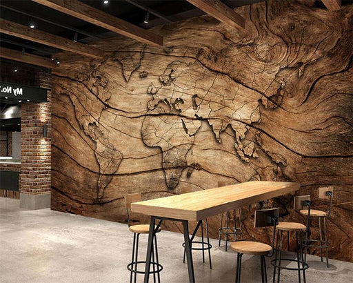 Wallaper - 3D Worldmap Vintage Wood Grain Wallpaper Sticker