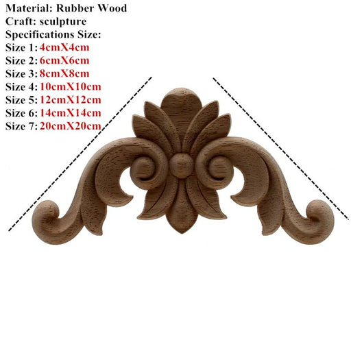 Wood Furniture Onlays - 4 PCS Vintage Unpainted Carved Wood Onlay For Corner Furniture Etc