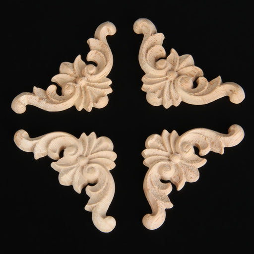 Wood Furniture Onlays - 4 Pcs Vintage Unpainted Wood Carved Corner Onlay Applie For Furniture