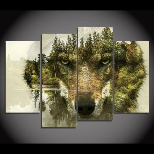 Wood Wall Art - 4 Pieces Canvas Wolf Woods Painting Art