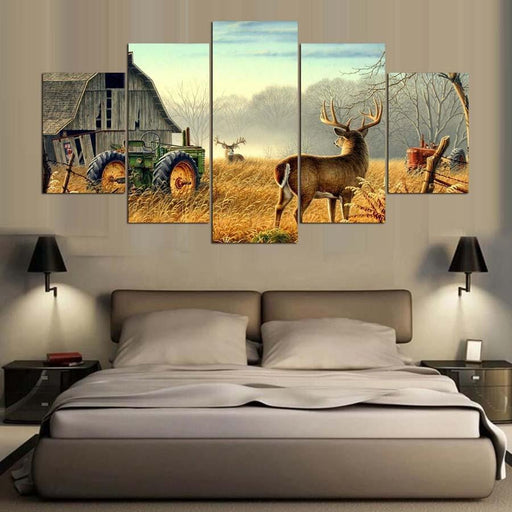 Wood Wall Art - 5 Piece Canvas Animals Wood House Canvas Painting