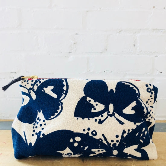 Canvas Makeup bag with navy blue butterflies