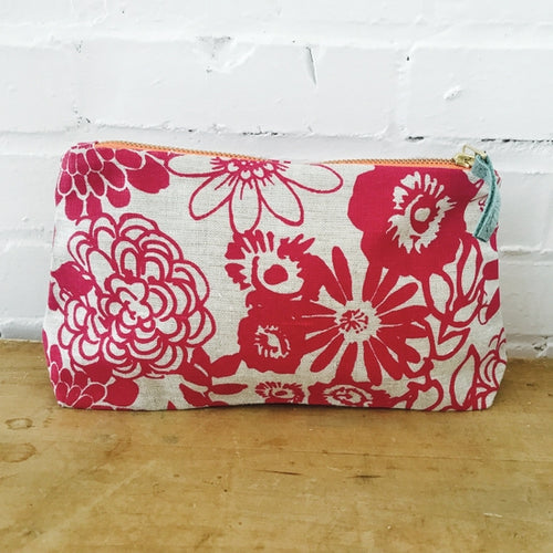 Makeup Bag in a pink garden design