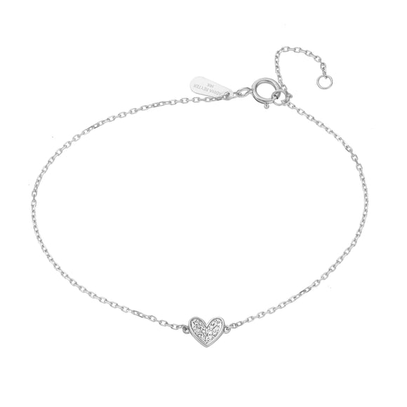 Super Tiny Pavé Folded Heart Bracelet Sterling Silver