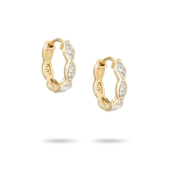 pave marquise huggie hoops