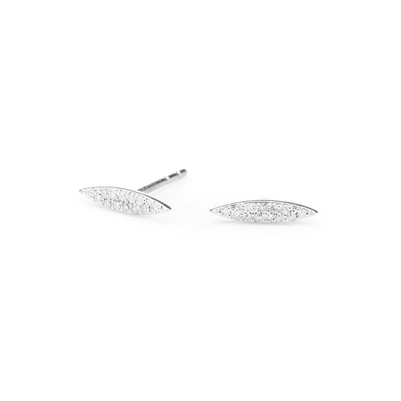 Pavé Marquise Posts- Sterling Silver