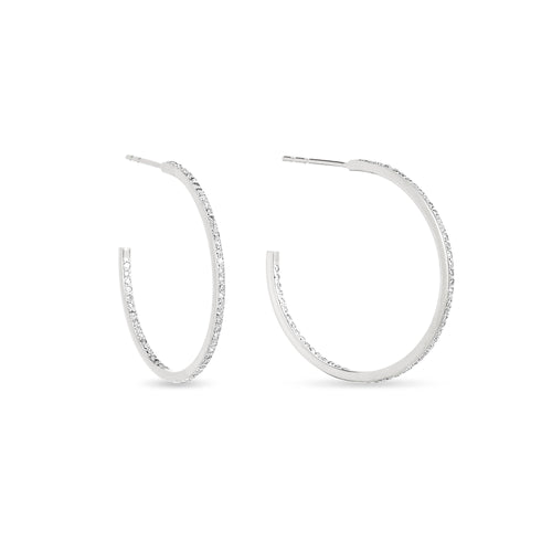 Adina Reyter Sterling Silver Medium Pave Hoops