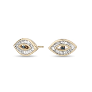 Baguette Evil Eye Posts- Yellow Gold