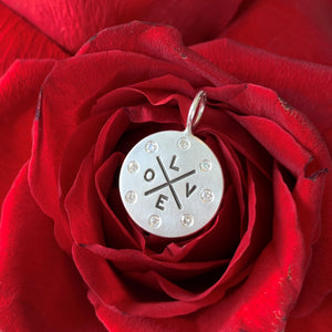 Heather B. Moore - Sterling Silver Love Graffiti Round Charm