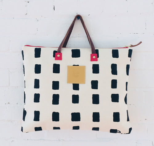 Erin Flett - Black Squares Folder Bag