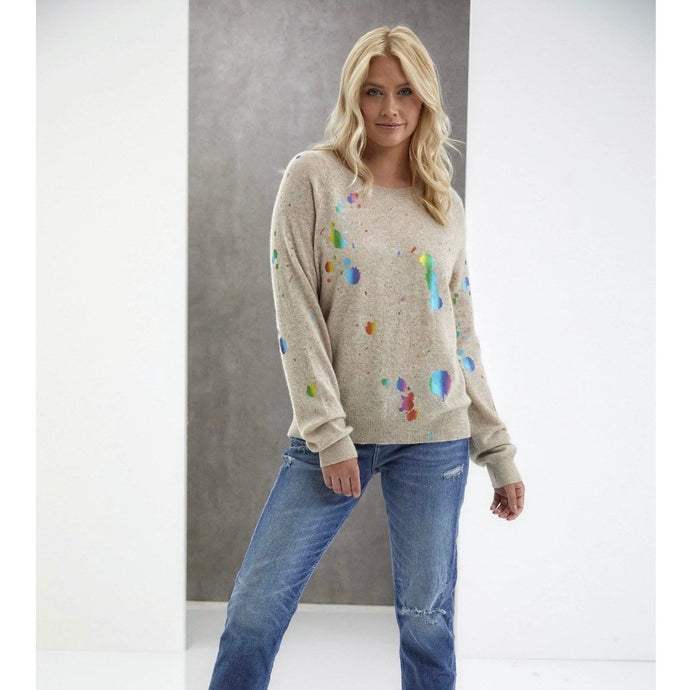 Brodie Rainbow Foil Cashmere Sweater