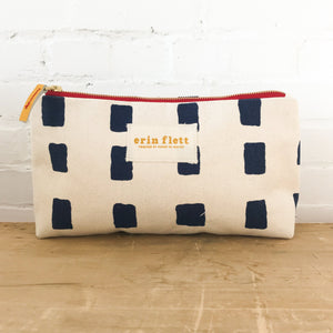 Erin Flett - Canvas Bag - Navy Squares