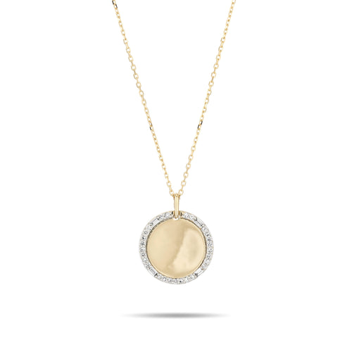 Adina Reyter -14k Yellow Gold  Round Pave + Baguette Dog Tag Necklace
