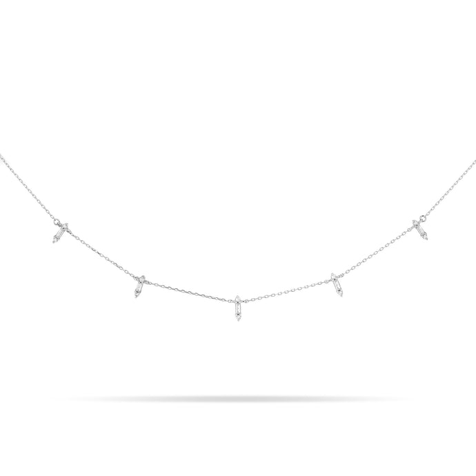 sterling silver necklace with baguette diamonds