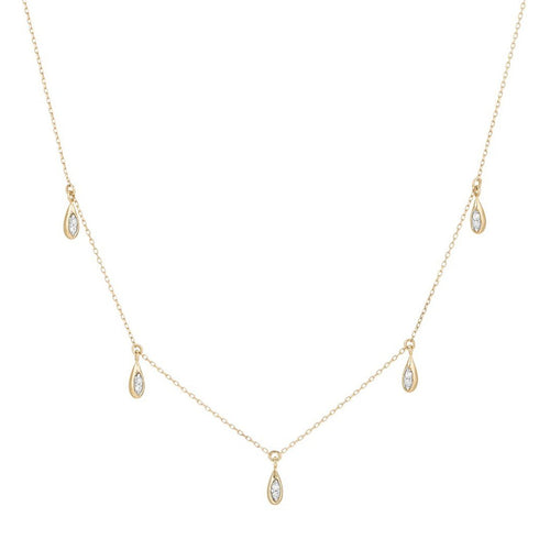 14k yellow gold water drop chain necklace Adina Reyter