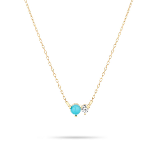 Adina Reyter - 14k Yello Gold Turquoise + Diamond Amigos Necklace
