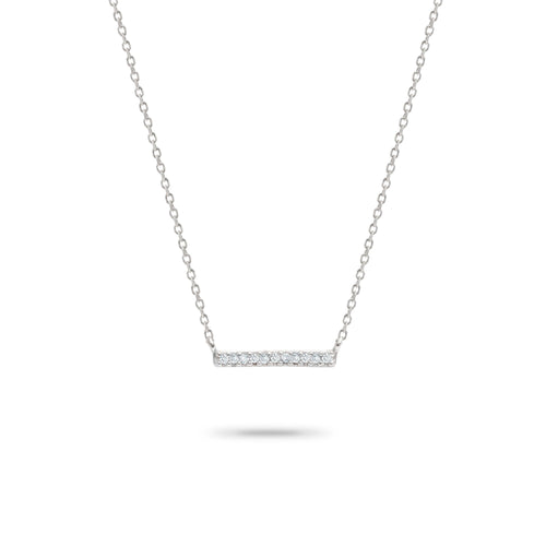 Adina Reyter Sterling Silver Pave Bar Necklace