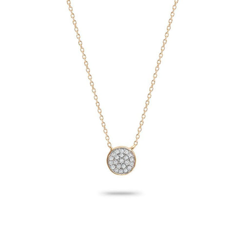 Solid Pavé Disc Necklace- Yellow Gold