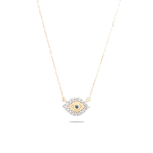 Load image into Gallery viewer, tiny evil eye 14k yellow gold necklace