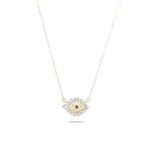 tiny evil eye 14k yellow gold necklace