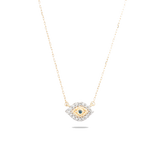 Super Tiny Pavé Evil Eye Necklace- Yellow Gold