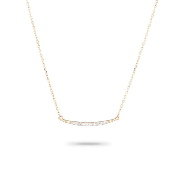 Small Pavé Curve Necklace- Yellow Gold