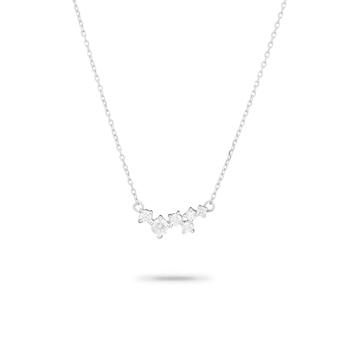 sterling silver scattered diamond necklace