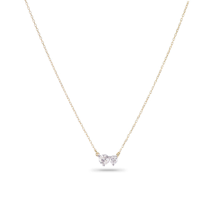 yellow gold with 2 diamonds necklace