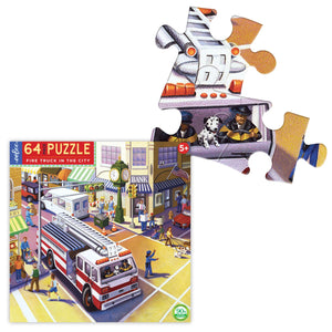 Puzzle -  Fire Truck in the City 64 pieces