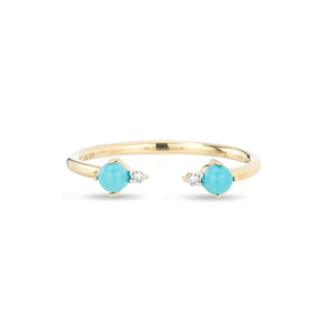 Adina Reyter 14k Yellow Gold Turquoise and Round Diamond Ring