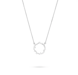 Small Scattered Diamond Circle Necklace- Silver