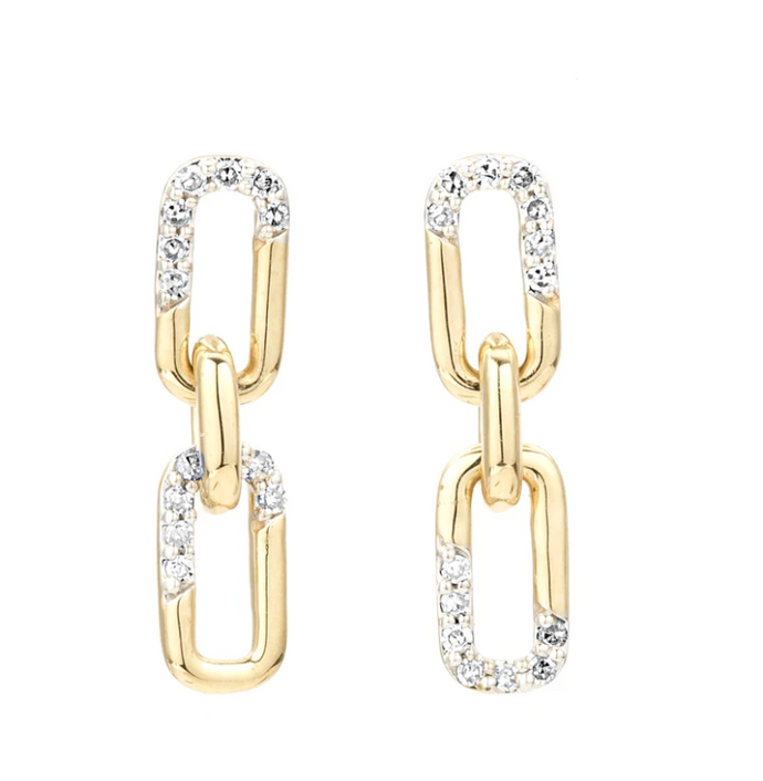 Adina Reyter Pave Interlocking Link Posts in Yellow Gold