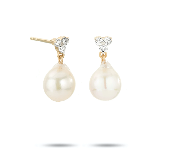 Diamond Cluster Pearl Drop Earrings