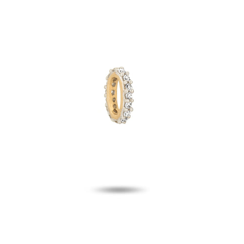 Pave 14k yellow gold bead
