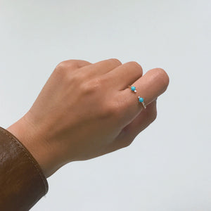 turquoise and round diamond ring