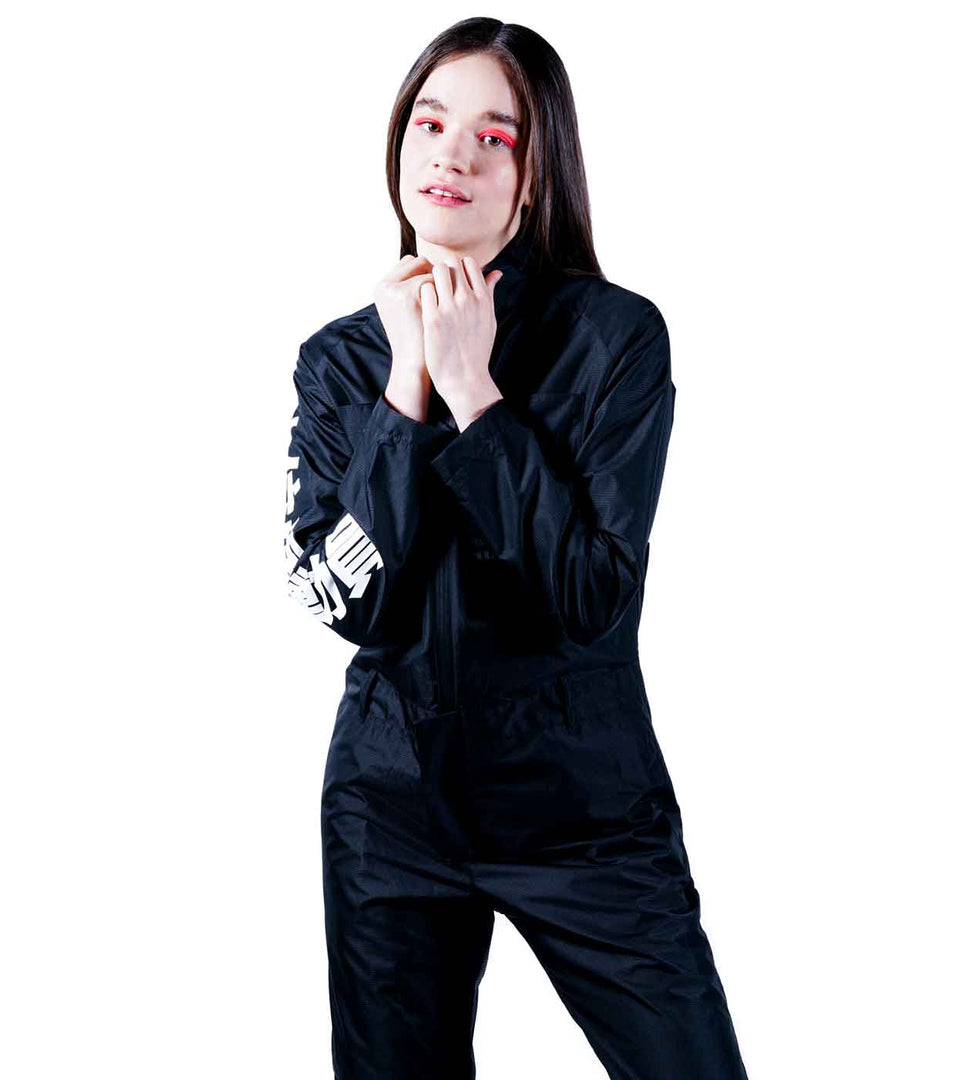 women fashion tech jumpsuit black color